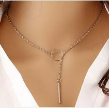Fashion Metal Ring Silver Plated Pendant Necklace Chain Jewelry For Women