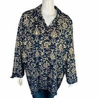 Catherines Womans Button Front Blouse Sz 3X 26/28W Floral Long Sleeve