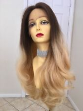 Virgin Human Hair Ash Blonde Wig Lace Front Ombré Mixed Brown Wavy 24 Inch Long