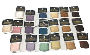 J&P Coats Embroidery Floss 9Yards:6Tans,4Browns,3Purples,2Blue 2Pinks,1Green NOS