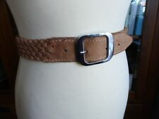 Vintage 80s tan suede leather woven waist belt VGC casual