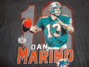 Vtg Gray Miami Dolphins #13 Dan Marino NFL Football 50-50 Hall of Fame TShirt XL
