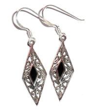 filigrane Ohrhänger Navette Ohrringe 925 Sterling Silber Neu * Onyx earrings