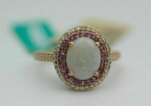 3Ct Oval Cut Opal & Pink Ruby Halo Women's Engagement Ring 14K Rose Gold Finish