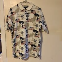C&B Sport Men's Size medium Hawaiian Shirt Novelty 4th of July Flag Print USA