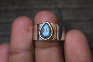 Natural Labradorite Gemstone with 925 Sterling Silver Ring for Men's EG1021