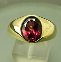 3Ct Brilliant Oval Cut Red Garnet Mens Solitaire Ring 14K Yellow Gold Finish