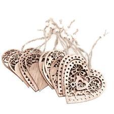 12pcs Hollow Heart-shape Wood Ornament DIY Wedding Hanging Decor Craft