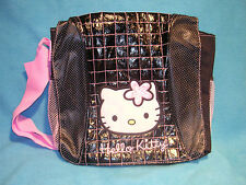 Hello Kitty Black and Pink Messnger Bag with Pink Meshing Accents New, Free Ship