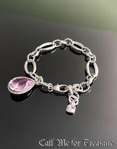 Brighton Power Of Pink Swarovski Crystal charm ribbon bracelet NEW