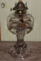 Vintage Antique Oil Lamp Base Lavender Purple Glass 10 inches Tall