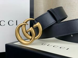 Gucci GG Gold Buckle Black Leather Men's Belt  414516 CWC1N Size 85-34 Authentic