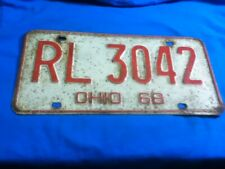 License Plate Tag Vintage Ohio RL 3042 1968 Rustic USA