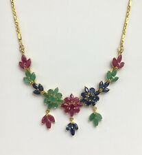 14k Solid Yellow Gold Flower Pendant Necklace/ Chain, Mix Ruby Sapphire Emerald