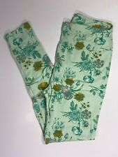 Lularoe Leggings OS / MINT GREEN with MULTICOLORED Floral Prints