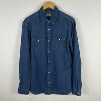 Selected Homme Mens Denim Shirt Large Blue Slim Fit Snap Button Long Sleeve