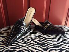 Karen Scott Croco Embossed Leather Mule 7.5 Dark Brown NWB