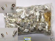 Silver N Male Crimp Connector LMR-400 Belden 9913 RG8 RG213 RF Cnctr 100pk