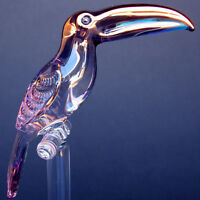 Toucan Figurine Sculpture of Blown Glass Gold Crystal