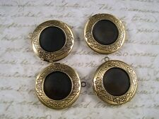 Antique Bronze Plated Brass Round Lockets (4) - G054 Jewelry Finding