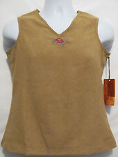 WRANGLER WESTERN BROWN EMBROIDER RODEO COWGIRL SLEEVELESS TOP SHIRT COWGIRL SZ S