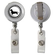 Dachshund - Weiner Dog Retractable Reel Chrome Badge ID Card Holder