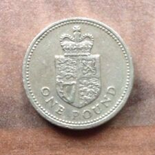 SHIELD OF THE ROYAL ARMS REPRESENTING THE UK -  LAST ROUND ONE POUND COIN £1