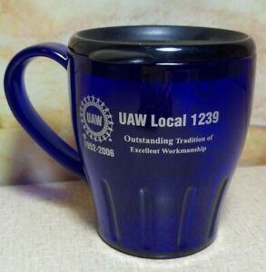 UAW Local 1239 1952-2006 Blue Plastic Coffee Cup w Lid