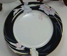 Mikasa China Charisma Black Porcelain Flowers Floral DINNER PLATE Gold Trim NICE