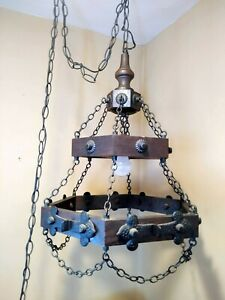 Vtg 2 Tier Wood Mid Century Spanish Ceiling Chandelier Light Swag Wrought Iron