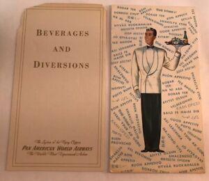 Pan American World Airways The Rainbow Beverage & Diversions Menus 1950s Airline