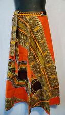 African Dashiki Print wrap around Skirt Maxi Vintage 70s Orange Free size