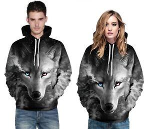 Men Women Animal Graphic 3D Wolf Print Hoodie Sweatshirt Pullover Jumper Tops