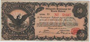 Mexico 50 Pesos 1915 P-S716 AU