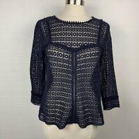 Sezane Joss Blouse M Womens Navy Blue Lace Sheer 3/4 Sleeves Top