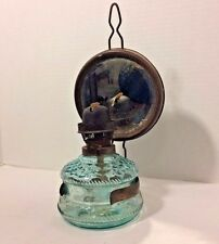 Antique Ditmar Austrian Oil Lamp Mirror Reflector Blue Glass Nautical Wall Mount