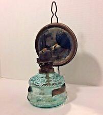 Antique Ditmar Austrian Oil Lamp Mirror Reflector Blue Glass Nautical Wall Mount