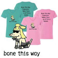 Teddy the Dog T Shirt Bone This Way Ladies V Neck Lady Gaga Pink Caribbean Blue