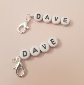 1 x Dave Name Personalised Men Text Black Silver Plated Clip On Charm Gift Tag