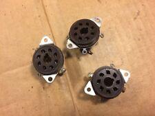 3 Vintage Dark Brown Cinch Octal Vacuum Tube Sockets 8-Pin for Guitar Amp 1950s