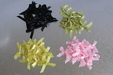 30 Lot baby pink, Yellow, Lime, Black Satin Ribbon Bow for wedding, crafts