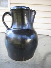 Antique Collectible Stoneware Pitcher with handle and Albany Glaze Clay Pottery