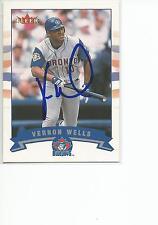 VERNON WELLS Autographed Signed 2002 Fleer card Toronto Blue Jays COA