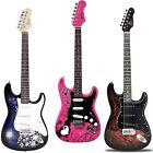 Jaxville ST Electric Guitar Full Size Beginner 3 Great Styles & Artwork