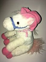 "Aurora White And Pink  Pony Wearing A Bandana  9"" Plush Stuffed Animal"
