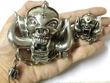 MOTORHEAD BELT BUCKLE and Broach LEMMY IRON Metal ROCK MAIDEN SKULL MINT VTG