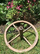 Antique Wooden Wood & Iron Band Wheelbarrow Wagon Wheel Primitive Garden