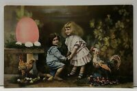 Easter Greetings Sweet Children With Rooster Tinted Photo Postcard G1