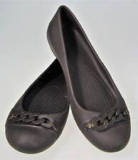 8 Crocs Slip On Ballerina Ballet Flats Shoes Chain Embellished Comfort