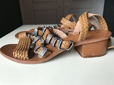 Topshop Brown Leather Sandal Ladies Women Small Heel Shoe Gladiator Size 5 38